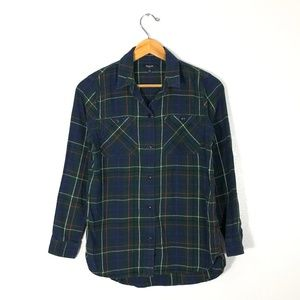 MADEWELL Green Plaid Button Down Shirt   Size: S